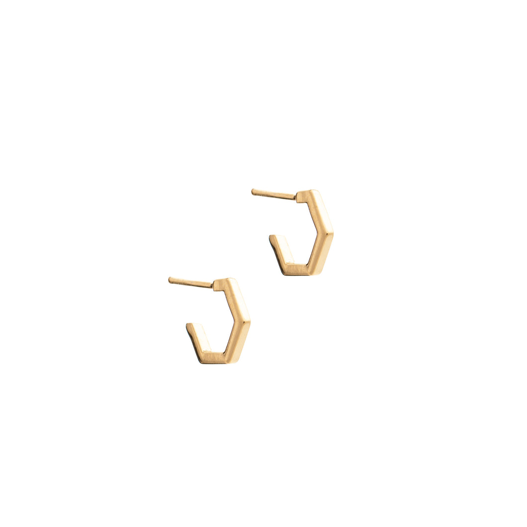 Rachel Jackson - Hexagon Hoop Earrings - Small - Gold