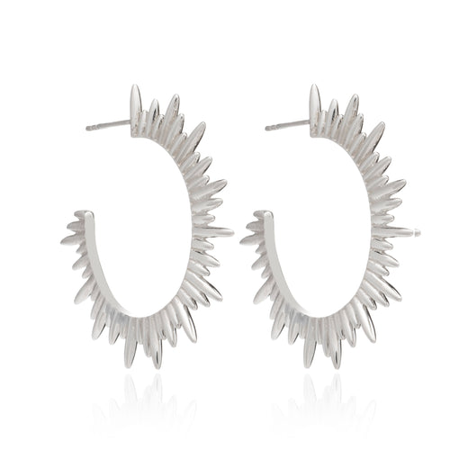 Rachel Jackson - Large Sunrays Hoop Earrings - Silver