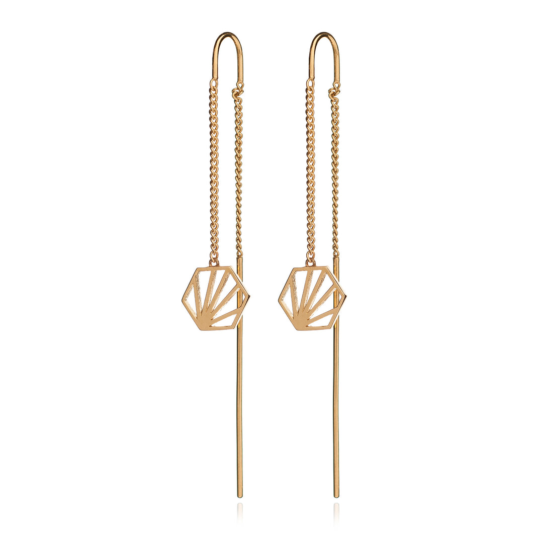 Rachel Jackson - Serenity Hexagon Threader Drop Earrings - Gold