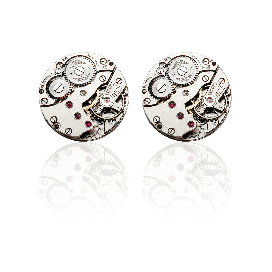 Roderick Vere - Cufflinks - Mr Darcy - Round Silver - with reflection