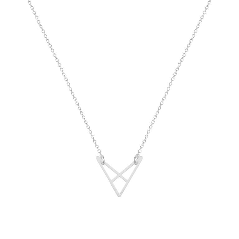 silver geometric necklace v shape