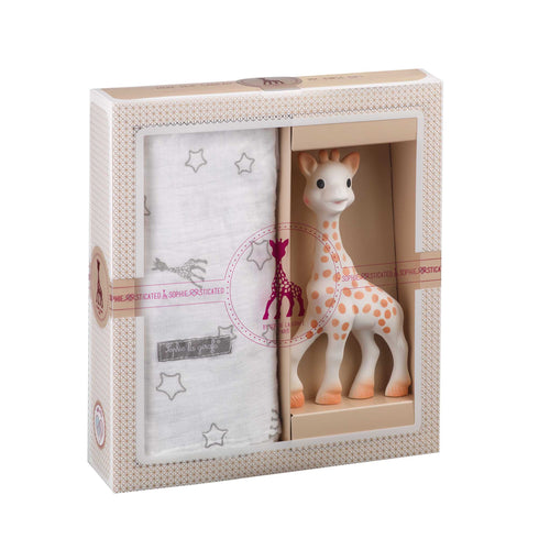 Sophie la Girafe Sophiesticated The Swaddle Set and teething toy