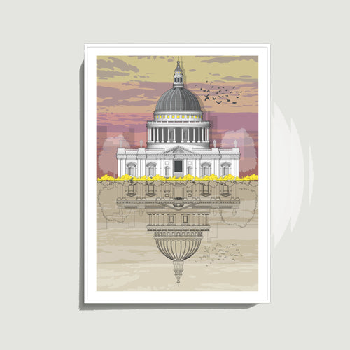 Linescapes - St. Paul's Cathedral Sunset A3 Giclee Print