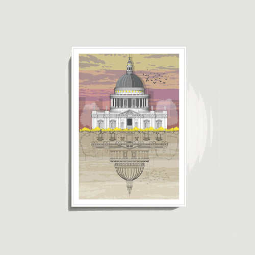 Linescapes - St. Paul's Cathedral Sunset A4 Giclee Print