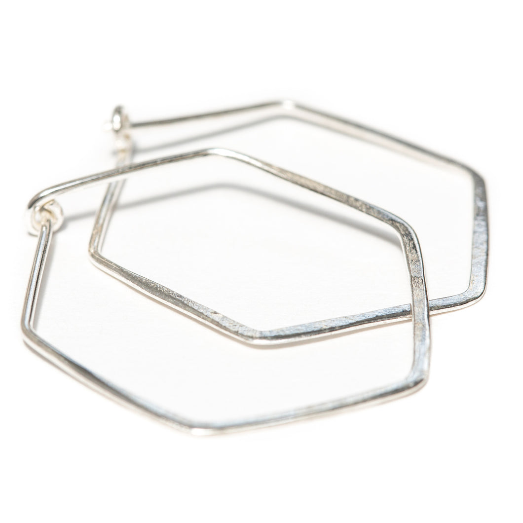 One & Eight - Silver Hammered Hexagonal Earrings