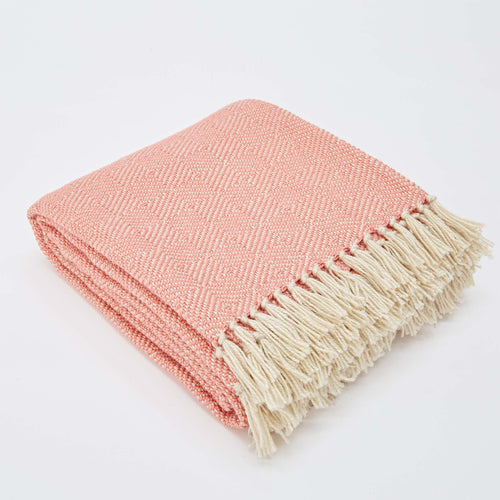 Weaver Green - Diamond Blanket - Coral