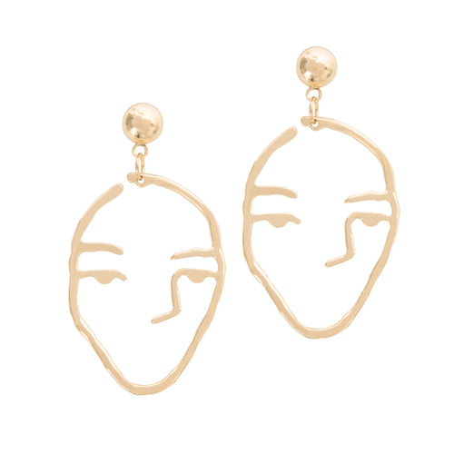 a weathered penny gold line drawing face earrings