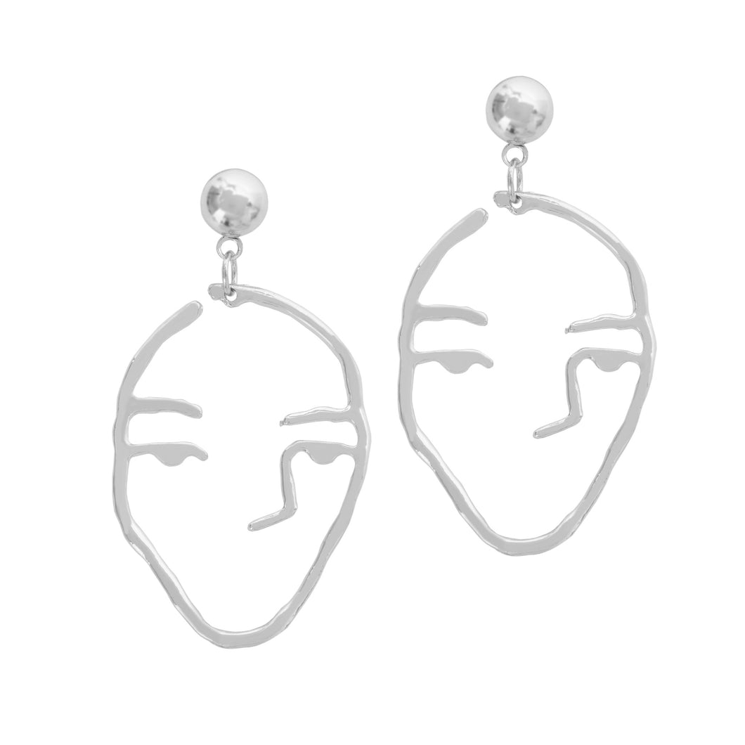 a weathered penny silver line drawing face earrings