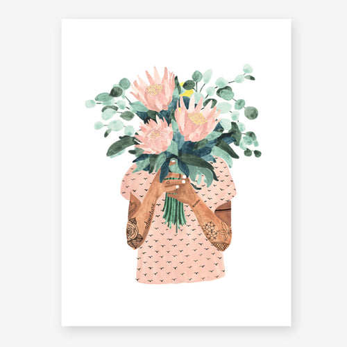 all the ways to say girl holding bouquet print