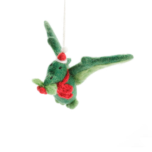 Amica - Pterodactyl with Holly Sprig Felt Christmas Decoration