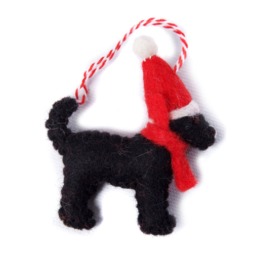 amica christmas felt decoration 2d black labrador with santa hat