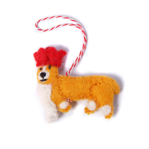 amica christmas felt decoration 2d corgi dog with crown