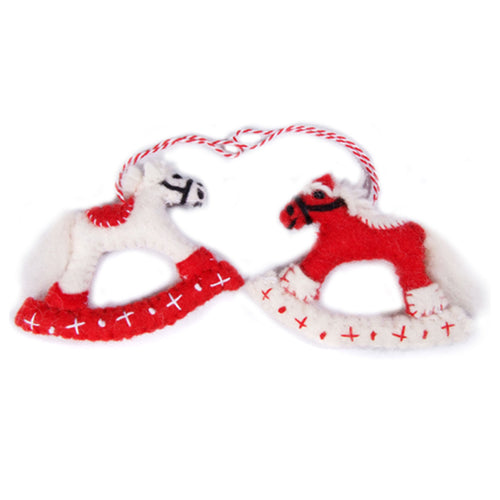 amica christmas felt decoration 2d rocking horse