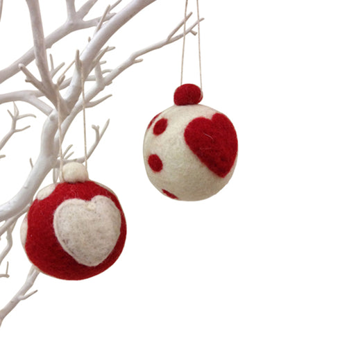 amica christmas felt decoration Ball heart bauble