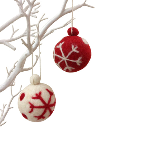 amica christmas felt decoration Ball snowflake bauble