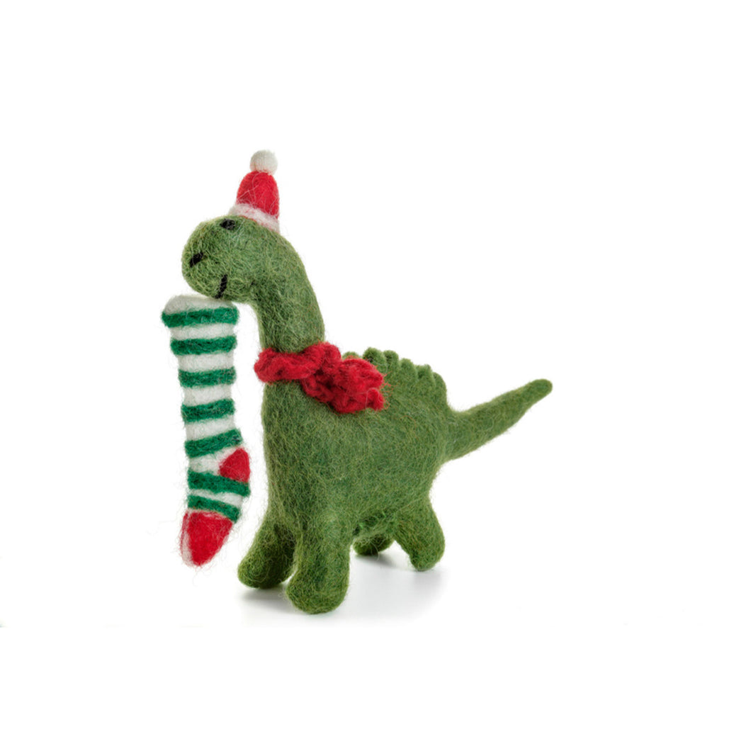 Amica - Diplodocus with Stocking Felt Christmas Decoration