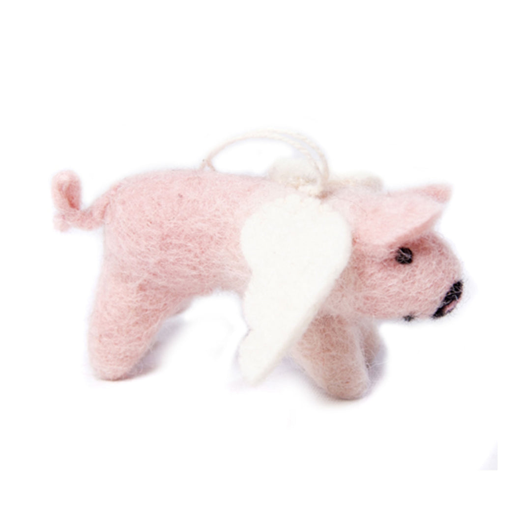 amica christmas felt decoration flying pig