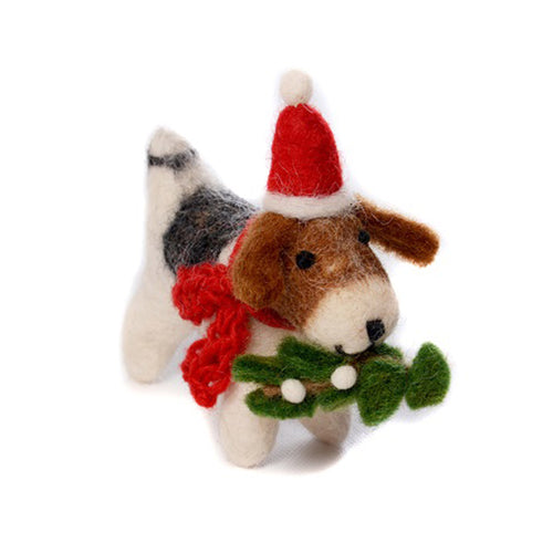amica christmas felt decoration fox terrier with santa hat and mistletoe
