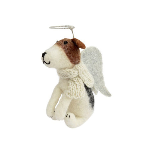 amica christmas felt decoration freddie tree topper fox terrier angel