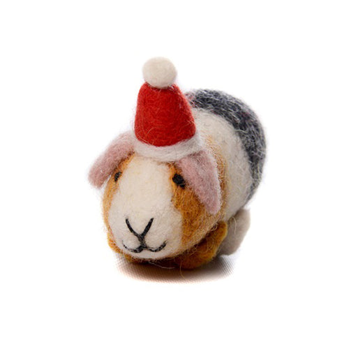 amica christmas felt decoration guinea pig with santa hat
