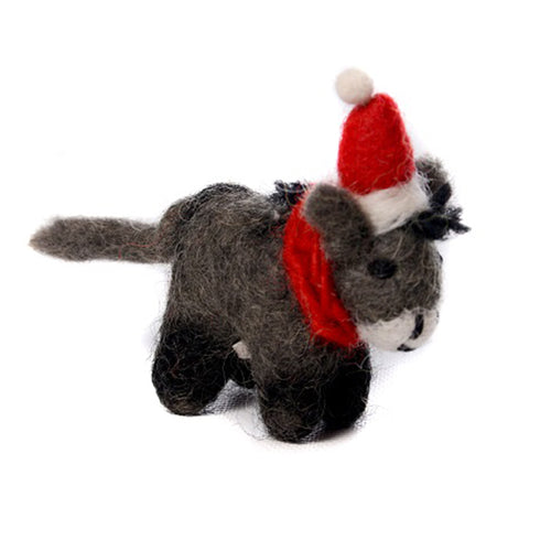 amica christmas felt decoration mini donkey with santa hat