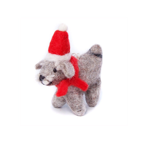 amica christmas felt decoration mini schnauzer with santa hat and knitted scarf