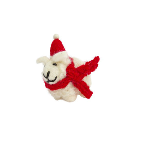 amica christmas felt decoration mini sheep with santa hat