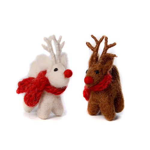 amica christmas felt decoration mini standing reindeer
