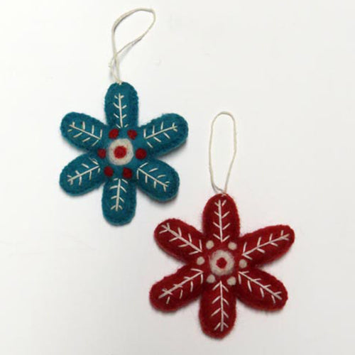 amica christmas felt decoration red and blue snowflake