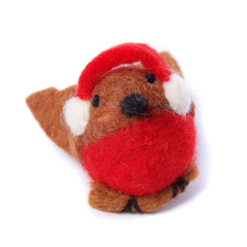 amica christmas felt decoration robin with ear muffs