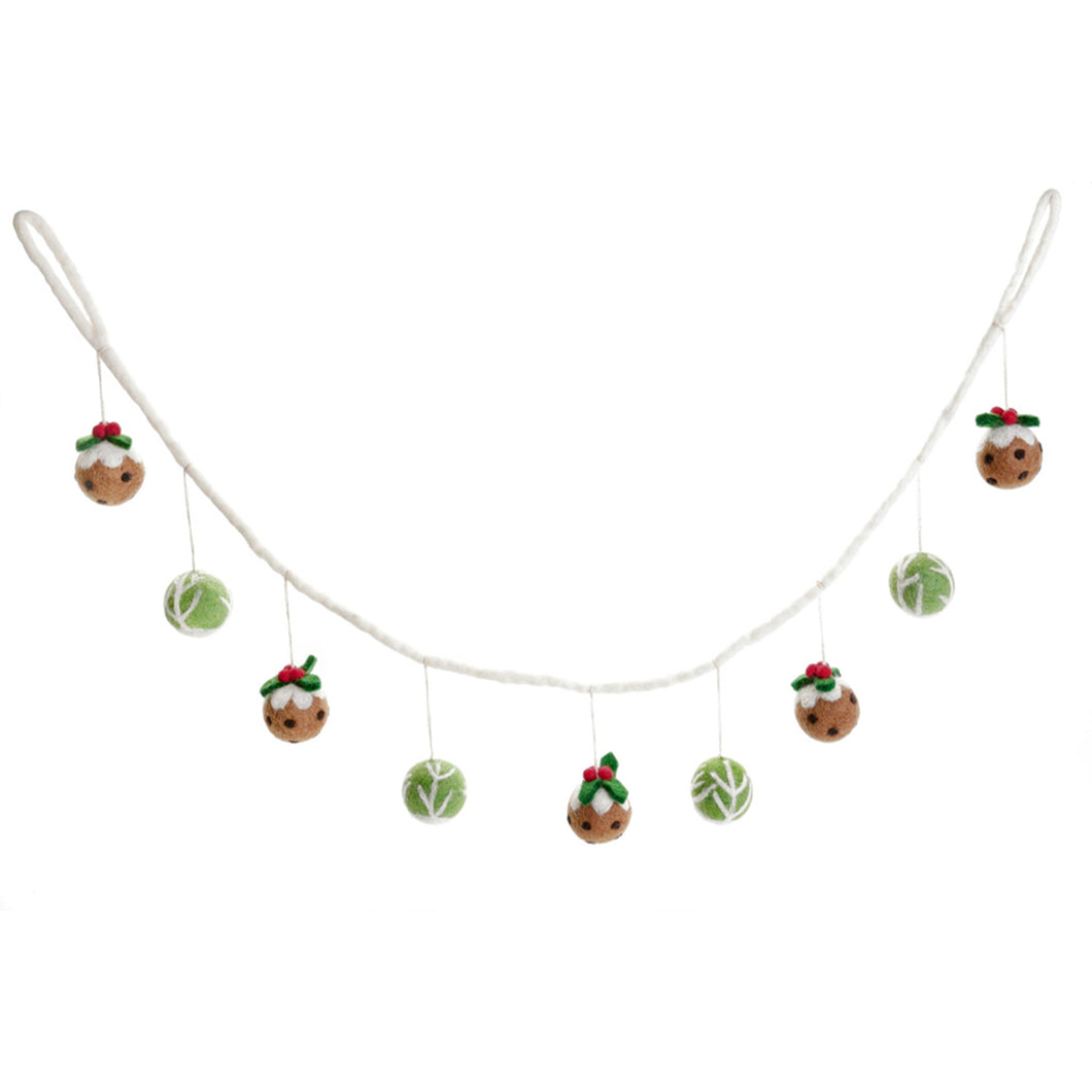 Amica - Sprout & Christmas Pudding Felt Garland