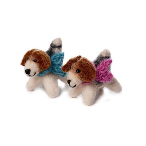 amica felt decoration mini fox terrier with scarf