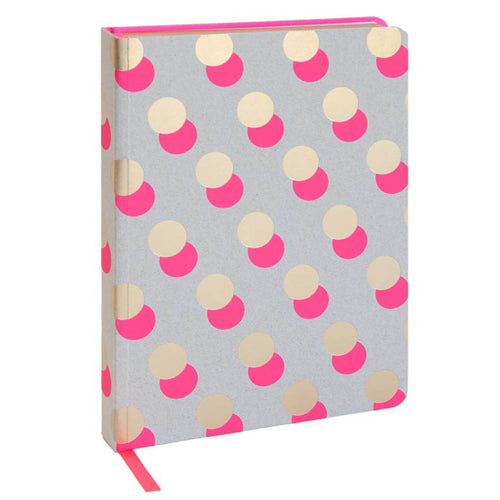 Artebene - Pink and Gold Dots Overlap Notebook A5