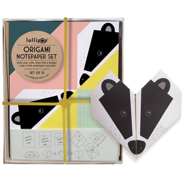 Lollipop - Origami Notepaper Set Badger