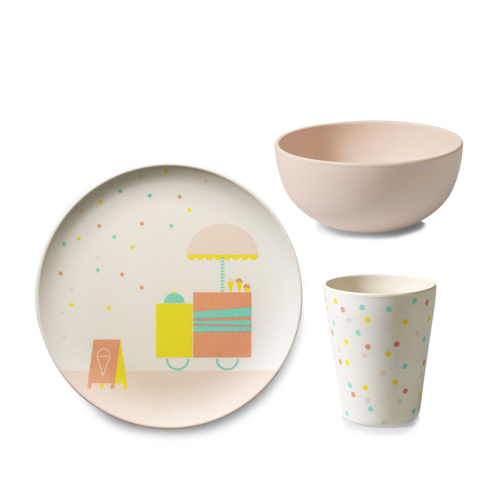 bamboo children s tableware icecream engelpunt