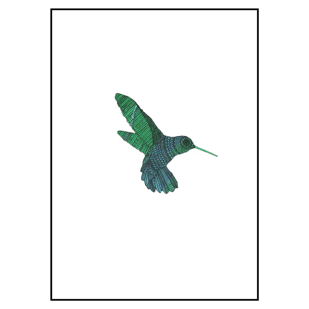 bethan wyn williams Hummingbird Screen Print - Green - A4
