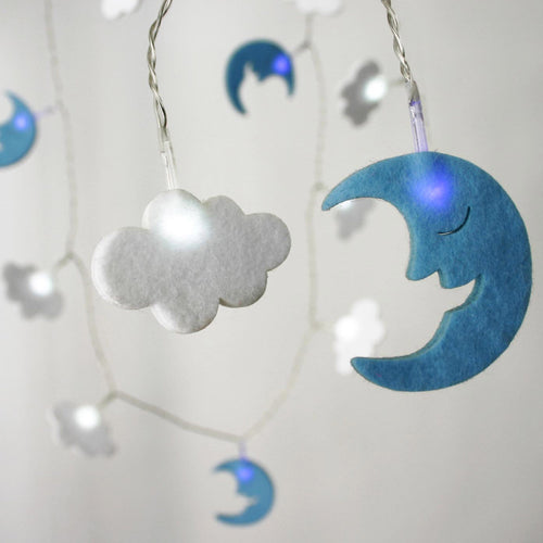 blue moon and white cloud fairy lights