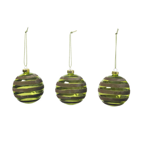 broste - Alcas Bottle Green Spiral Christmas Bauble - Set of 3