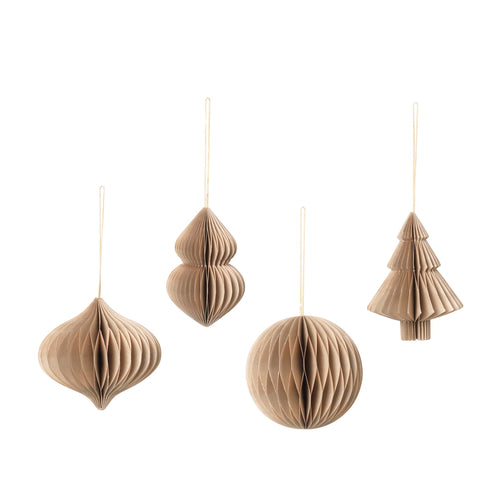 broste - Honeycomb Paper Christmas Baubles - Set of 4 - Neutral Beige