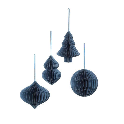 broste - Honeycomb Paper Christmas Baubles - Set of 4 - Orion Blue