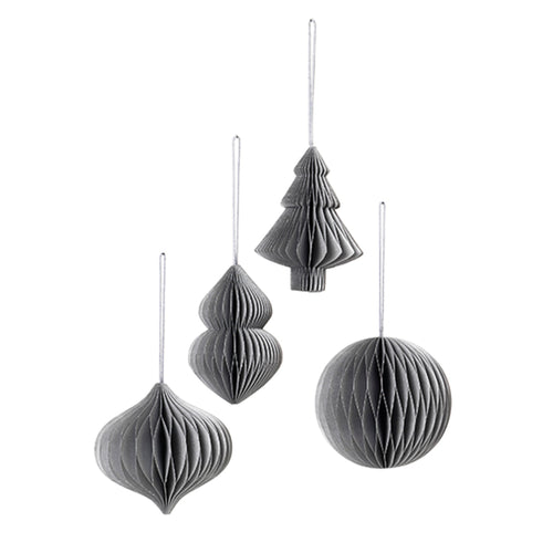 broste - Honeycomb Paper Christmas Baubles - Set of 4 - Silver Grey