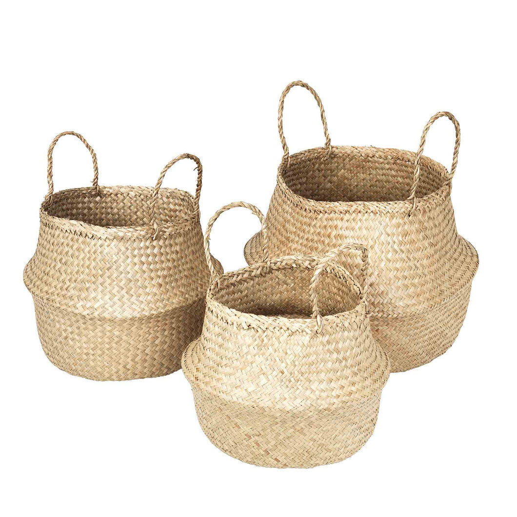 broste Ilse Fold Sea Grass Basket with handles - Set of 3