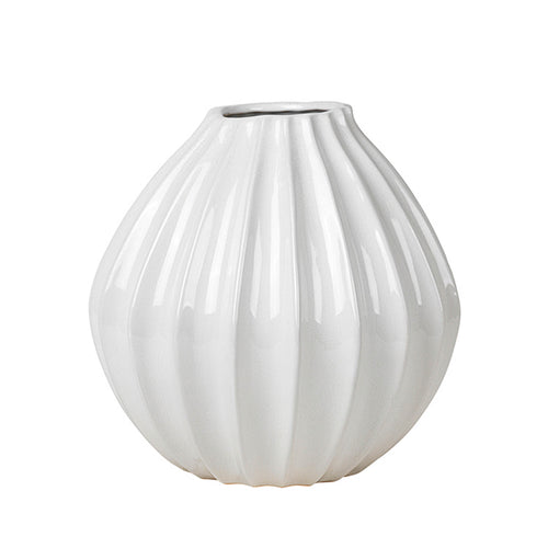 broste Ivory Wide Fluted Garlic Vase - large
