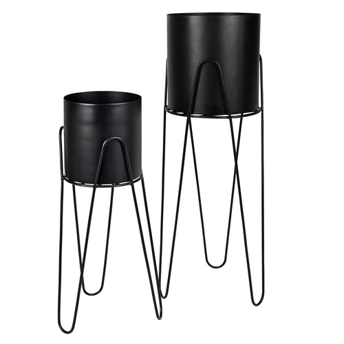 broste Lisa Black Metal Plant Stand - Set of 2