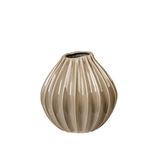 broste Rainy Day Grey Wide Fluted Garlic Vase - medium