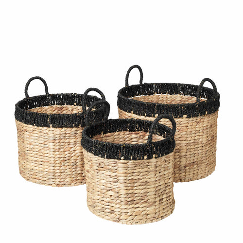 broste - Stine Round Basket - Sea Grass - Black Band - Set of 3