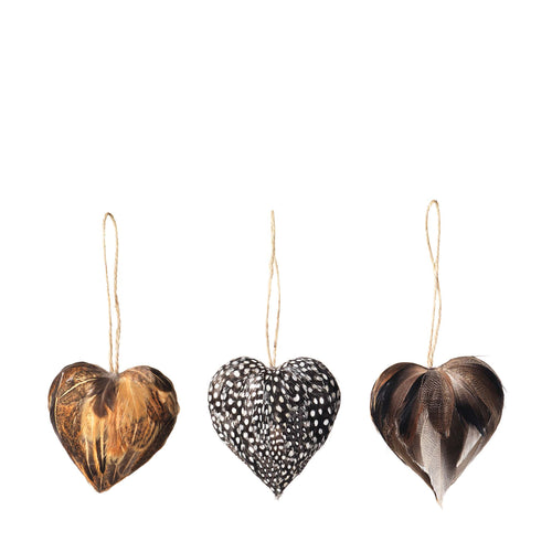 broste - Tori Feather Heart Christmas Decorations - Set of 3