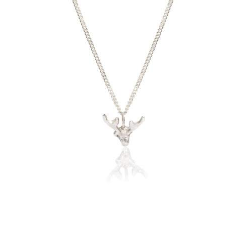 by emily silver mini stag necklace