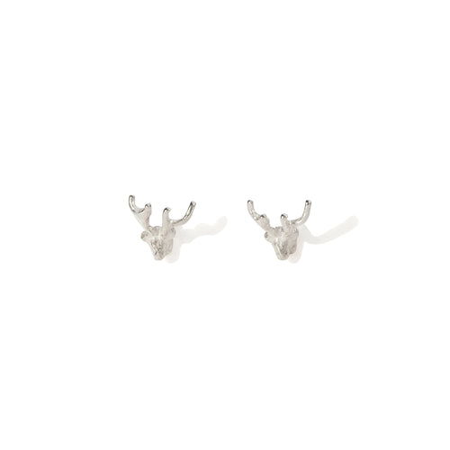 by emily silver mini stag stud earrings
