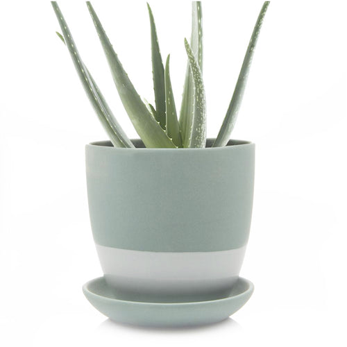 chive Big Dyad Planter and Saucer - peacock green turquoise